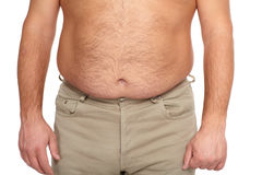 Fat man with a big belly. Diet Royalty Free Stock Photos