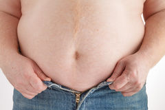 Fat man with a big belly. Diet Stock Image