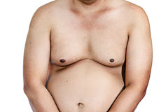 Fat man with a big belly. Diet isolated Stock Image