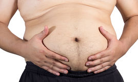 Fat man with a big belly. Isolated on white background Royalty Free Stock Photography