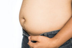 Fat man with big belly on white background Royalty Free Stock Image