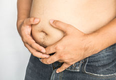 Fat man with big belly on white background Royalty Free Stock Photo
