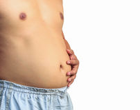 Fat man with a big belly. On white background Royalty Free Stock Photography