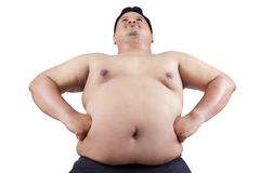 Fat man with big stomach Stock Photos