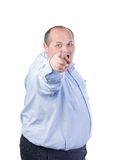 Fat Man in a Blue Shirt, Points Finger. Isolated Royalty Free Stock Photography