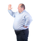 Fat Man in a Blue Shirt, Shouting Stock Photo