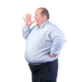 Fat Man in a Blue Shirt, Shouting Royalty Free Stock Image