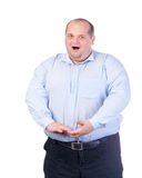 Fat Man in a Blue Shirt, Singing a Song Royalty Free Stock Photography