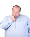 Fat Man in a Blue Shirt, Thumb-Sucking Royalty Free Stock Photos