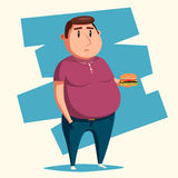 Fat man with burger. Cartoon vector illustration. Obese character. Fatboy. Sad man Stock Photo