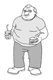Fat man with burger and drink Royalty Free Stock Photography