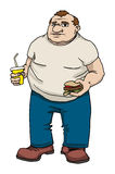 Fat man with burger and drink Royalty Free Stock Photo