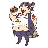 Fat man with burger. Obese character. Cartoon  illustration. Isolated objects on white background. Man with burger. Obese character. Cartoon  illustration Stock Images