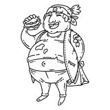 Fat man with burger. Obese character. Cartoon vector illustration. Isolated objects on white background. Coloring pages. Man with burger. Obese character Royalty Free Stock Photos
