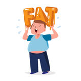 Fat man carrying a big fat typographic design. unhealthy fat con Royalty Free Stock Photo