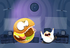 Fat man chased by Burger Monster. A temptation to his diet Stock Photo