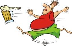 Fat man chasing a mug of beer Stock Photography