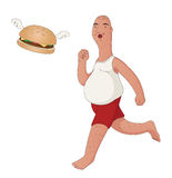 Fat Man Chasing A Winged Burger. Illustration of an obese middle aged man chasing a flying hamburger. Fast food concept Stock Photo