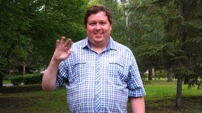 Fat man with checkered shirt saluting with hand with happy expression in a park.  stock video footage