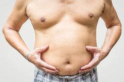 Fat man checking his weight. Fat man a checking his weight Royalty Free Stock Images