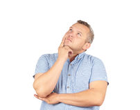 Fat man  chin on hand thinking daydreaming, staring thoughtfully. Upwards,Isolated on white background Stock Images
