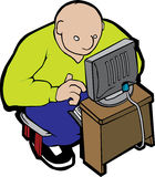 Fat man and computer Stock Images