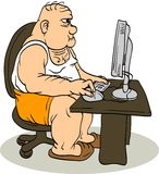 Fat Man At The Computer. The fat man sitting at the computer. Internet troll Royalty Free Stock Photography
