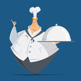 Fat man cook chef holding metal cloche lid cover tray Stock Photos