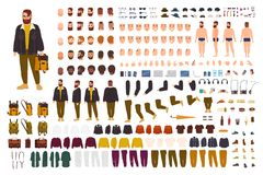 Fat man creation set or DIY kit. Collection of flat cartoon character body parts, face expressions, trendy hipster. Clothes isolated on white background. Front stock illustration