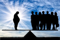 Fat man and crowd on scales day Stock Photos