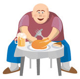 Fat man at a crowded table. Isolated on white background. Vector illustration Royalty Free Stock Photo