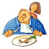 Fat man on diet stock illustration