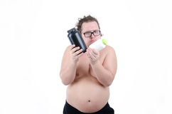 Fat man on a diet Royalty Free Stock Image