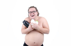Fat man on a diet Stock Photos