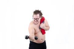 Fat man on a diet Stock Photos