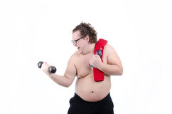 Fat man on a diet Royalty Free Stock Images