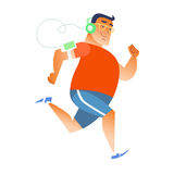 Fat man does running listening music player headphones Royalty Free Stock Image