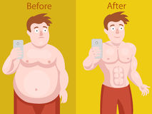 Fat man doing selfie before and after weight loss stock illustration