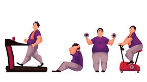 Fat man doing sport exercises  on white background Royalty Free Stock Photo
