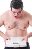 Fat man doing workout Royalty Free Stock Photography