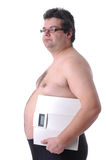 Fat man doing workout Royalty Free Stock Photos