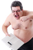 Fat man doing workout Stock Photography