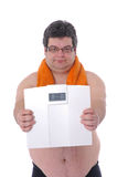 Fat man doing workout Stock Image