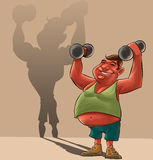 Fat man dreaming. Young fat man lifiting Dumbbells and dreaming to be strong royalty free illustration