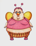 Fat man dressed of fairies. Raster illustration. Stock Images