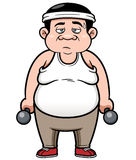 Fat man with dumbbells Royalty Free Stock Image