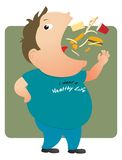 Fat man eating Royalty Free Stock Images