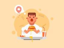 Fat man eating a big hamburger in flat style. Royalty Free Stock Photography