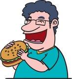 Fat man eating burger Stock Photo