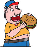 Fat man eating burger. A fat man eating burger Royalty Free Stock Photography
